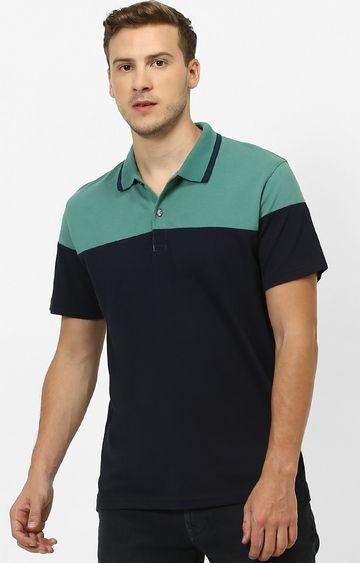 celio | Green and Navy Colourblock Polo T-Shirt