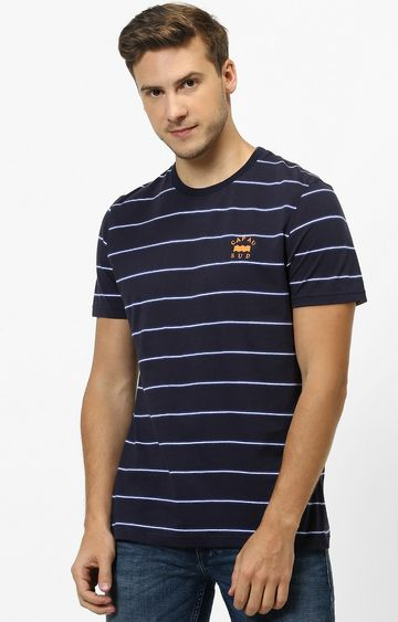 celio | Blue Striped Regular Fit T-Shirt