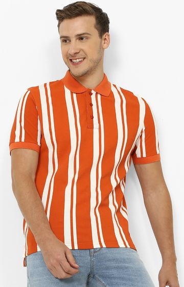 celio | Orange Striped Polo T-Shirt