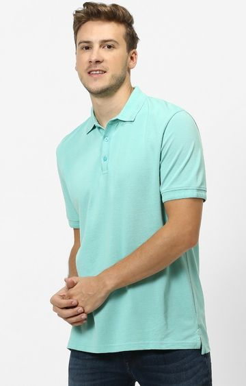 celio | Turquoise Solid Regular Fit Polo T-Shirt