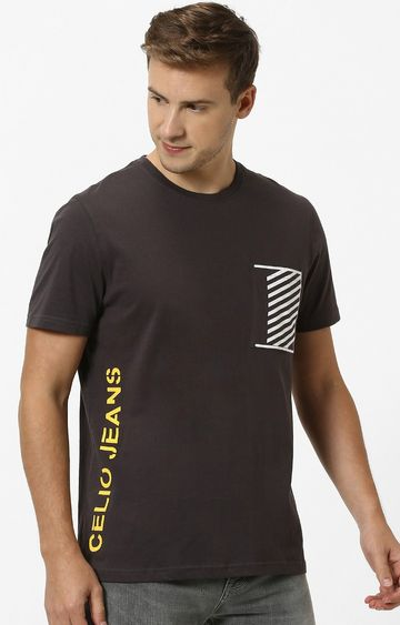 celio | Brown Printed Regular Fit T-Shirt