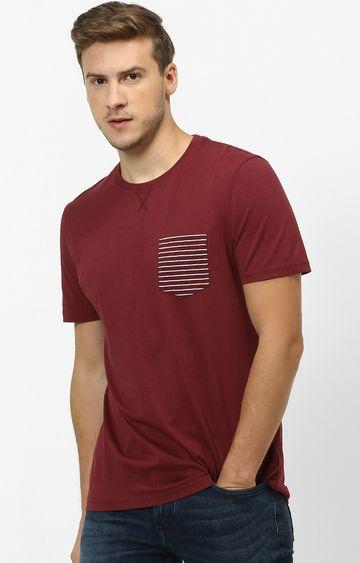 celio   Maroon Solid T-Shirt