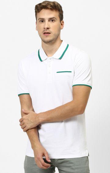 celio | Optical White Solid Polo T-Shirt