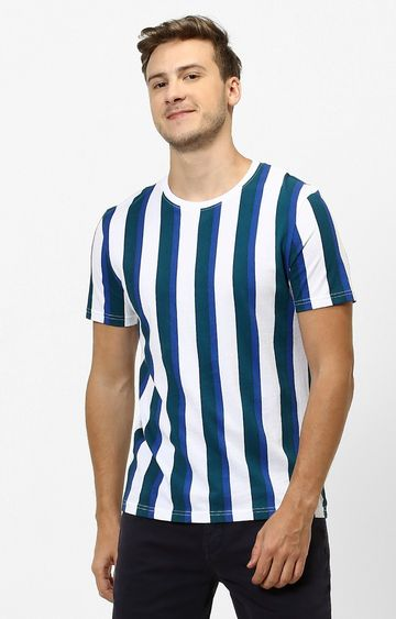 celio | White and Blue Striped Regular Fit T-Shirt