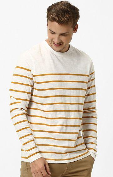 celio | Beige Striped Regular Fit T-Shirt