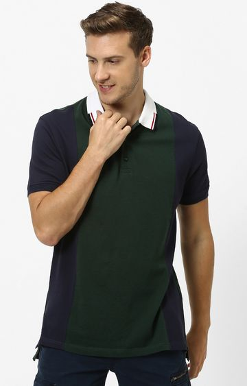 celio | Dark Green and Navy Colourblock Polo T-Shirt