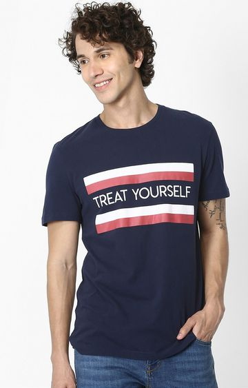 celio | Navy Printed Soft Touch Regular Fit T-Shirt