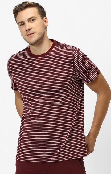 celio | Maroon Striped Regular Fit T-Shirt