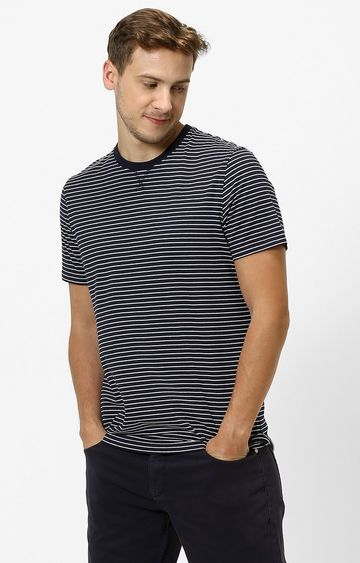 celio | Navy Striped Regular Fit T-Shirt