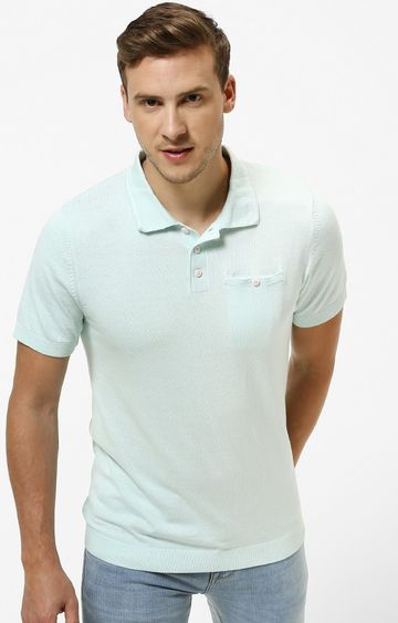 celio | Aqua Solid Straight Fit Polo T-Shirt