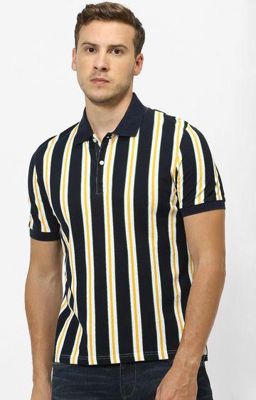 celio | Navy Striped Polo T-Shirt
