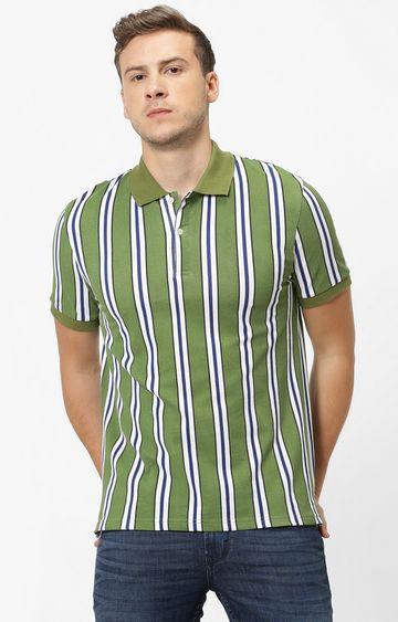 celio | Green Striped Polo T-Shirt
