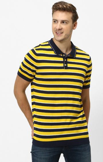 celio | Yellow Striped Straight Fit Polo T-Shirt
