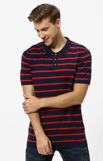 celio | Navy Striped Straight Fit Polo T-Shirt