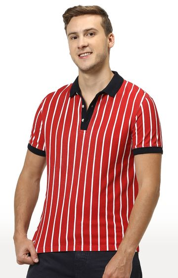 celio | Red Striped Polo T-Shirt