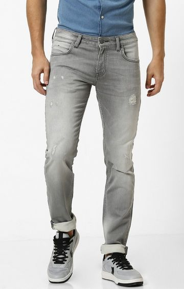celio | Grey Ripped Slim Fit Jeans