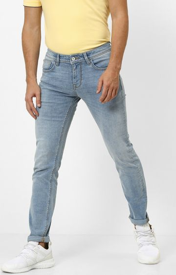 celio | Light Blue Solid Tapered Jeans