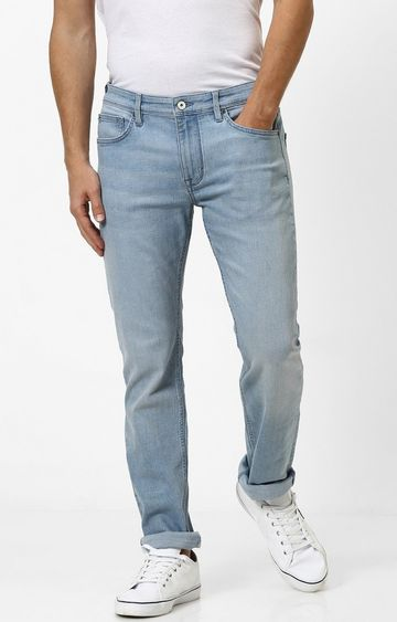 celio | Light Blue Solid Straight Slim Fit Jeans