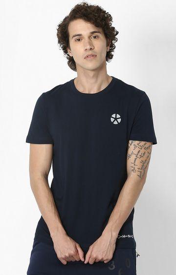 celio | Navy Printed Regular Fit Athleisure T-Shirt