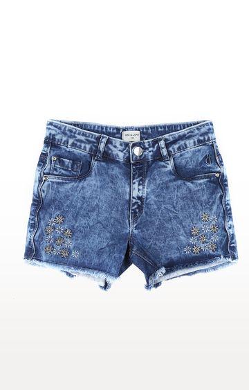 Gini & Jony | Blue Printed Shorts