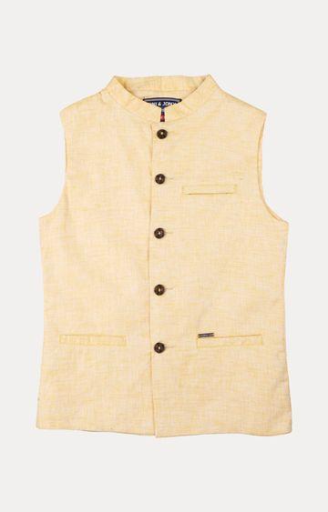 Gini & Jony | Yellow Striped Ethnic Jacket