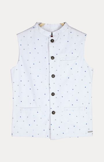 Gini & Jony | White Printed Ethnic Jacket