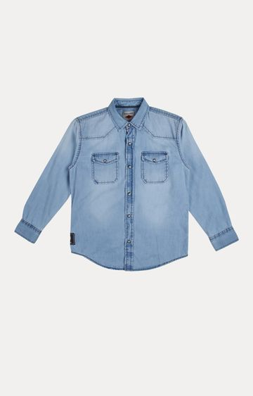 Gini & Jony   Blue Solid Shirt