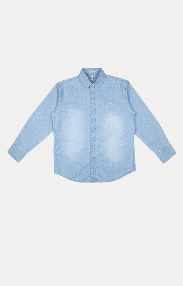 Gini & Jony   PALM TREE Blue Solid Shirt