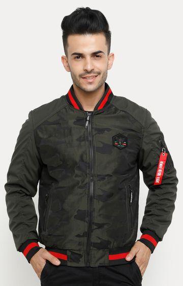 Showoff | Olive Printed Bomber Jacket