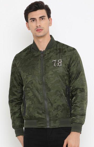Showoff | Green Printed PU Leather Jacket