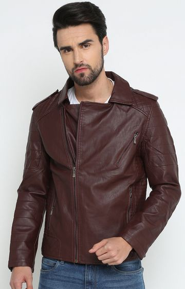 Showoff | Wine Solid Leather Jacket
