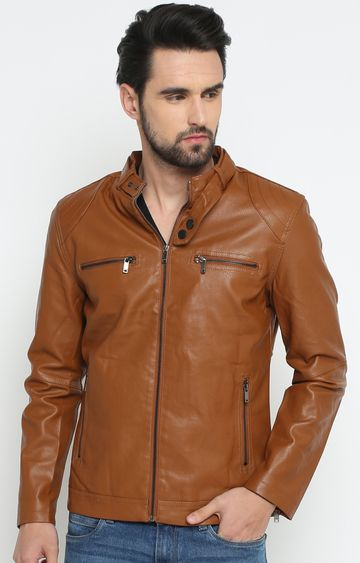 Showoff | Brown Solid Leather Jacket