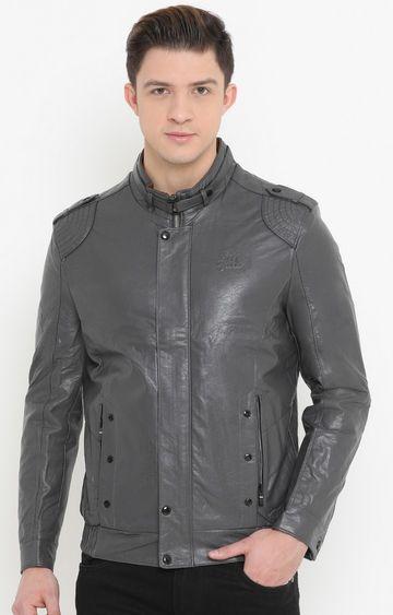Showoff | Grey Solid PU Leather Jacket