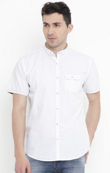 Showoff | White Polka Dots Casual Shirt