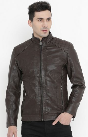 Showoff | Chocolate Solid PU Leather Jacket