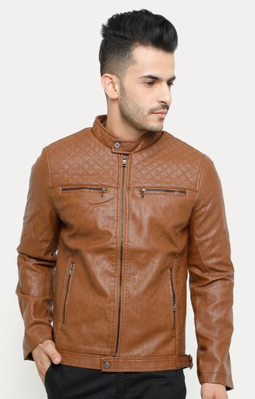 Showoff | Tan Solid Leather Jacket