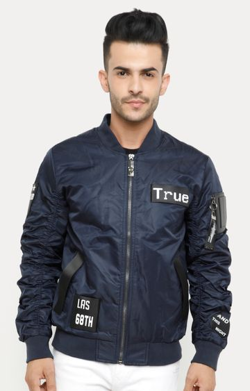 Showoff | Navy Blue Solid Leather Jacket