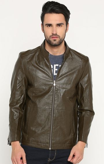 Showoff | Olive Solid Leather Jacket