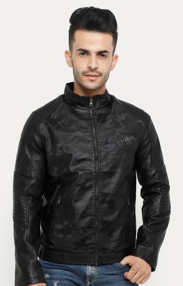 Showoff | Black Printed Leather Jacket