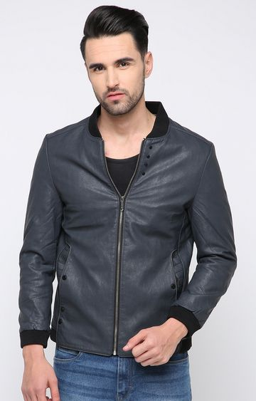 Showoff | Grey Solid Leather Jacket