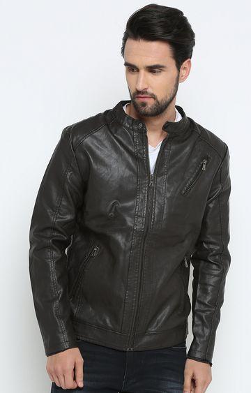Showoff | Dark Brown Solid Leather Jacket