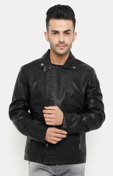 Showoff | Black Solid Leather Jacket
