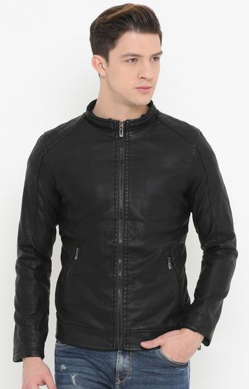 Showoff | Black Solid PU Leather Jacket
