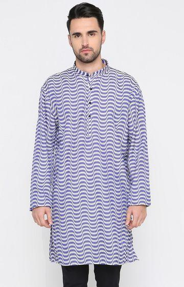 Showoff | White and Purple Striped Kurta