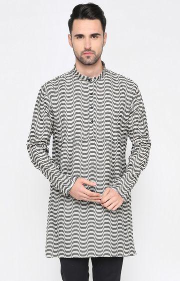 Showoff | White and Black Striped Kurta