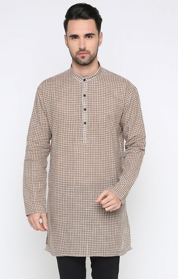 Showoff | Brown Checked Kurta