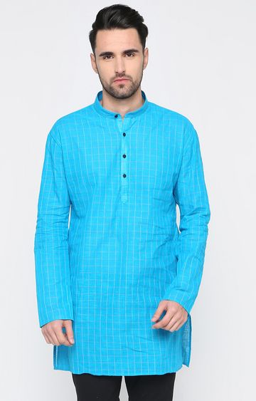 Showoff | Blue Checked Kurta