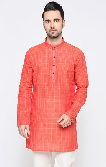 Showoff | Orange Checked Kurta