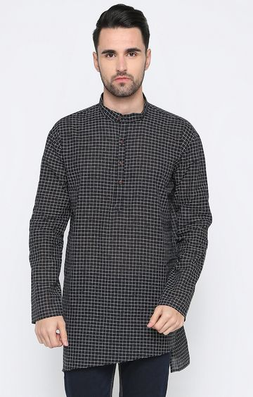Showoff | Black Checked Kurta