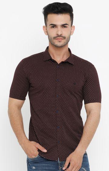 Showoff | Wine Printed Casual Shirt